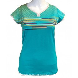 TEE SHIRT CAP SLEEVES PERF WOMEN BLEU